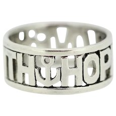 Sterling Silver Faith Hope Love Band Ring - Size 6.75