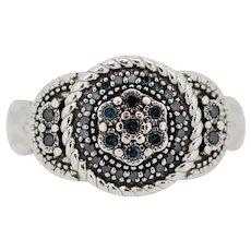 Sterling Silver Blue Diamond Flower Ring - Size 7