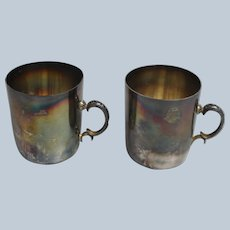 "Set of 2 Sterling Silver 3"" Coffee Cups - OXIO 925"