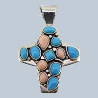 Large Sterling Silver Oval Blue/Pink Stone Cross Slider Pendant
