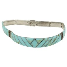 .950 Silver Turquoise Inlay Link Bracelet - 7.5""