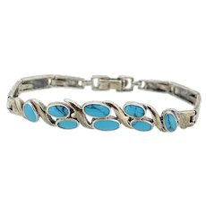 Sterling Silver Bar Link Turquoise Inlay Bracelet - 7""
