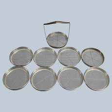 Set of 8 Sterling Silver Edged Coasters with Caddy