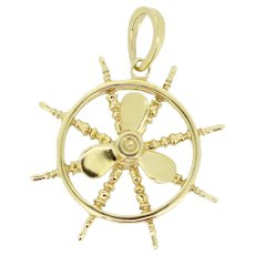 14k Yellow Gold Boat Wheel/Propeller Pendant