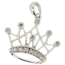 10k White Gold Diamond Princess Crown Pendant
