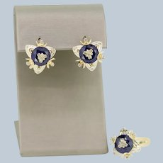 14k Yellow Gold Diamond/Faceted Blue Stone Ring and Earrings Set