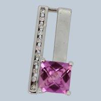 10k White Gold Square Pink Stone Round Diamond Slider Pendant