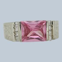 Sterling Silver Pink Stone Clear CZ Nugget Style Ring - Size 7.5