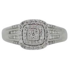 10k White Gold Diamond Cluster Engagement Ring - Size 9.5