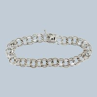 """Sterling Silver Double Cable Link Bracelet - 6.5"""""""