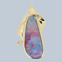 14k Yellow Gold Oval Opal Round Diamond Slider Pendant