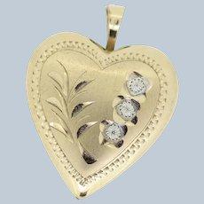 14k Yellow Gold Filled Diamond Cut Design Heart Locket Pendant