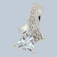 10k White Gold Trilliant Aqumarine, Diamond Slider Pendant