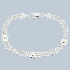 "Sterling Silver Heart Charm Beaded Link Bracelet - 7"""
