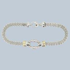 """Two-Tone Sterling Silver/14K Bismark Link CZ Bracelet - 7"""""""