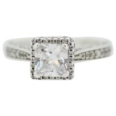 Sterling Silver Round/Princess Cut CZ Cluster Ring - Size 5