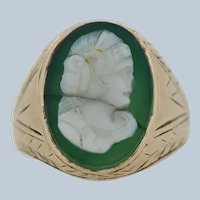 Antique 10k Yellow Gold Oval Green Cameo Ring - Size 9