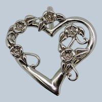 Sterling Silver Floral Heart Slider Pendant