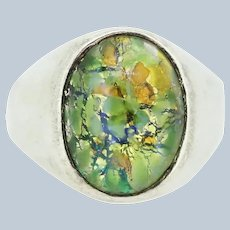 Sterling Silver Oval Mosaic Multicolored Green Stone Ring - Size 10.25