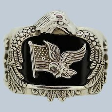 Bradford Exchange Men's Sterling Silver Patriotic God Bless America Ring Sz 10.5