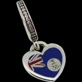 Pandora Sterling Silver Cayman Island Flag Heart Dangle Charm