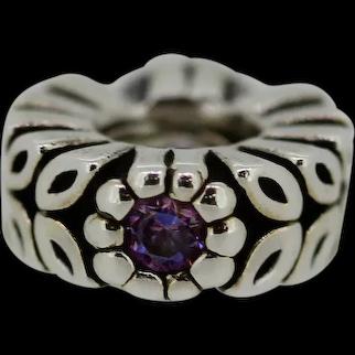 Pandora Retired Sterling Silver Twice as Nice Spacer Purple Zirconia - 791224CFP