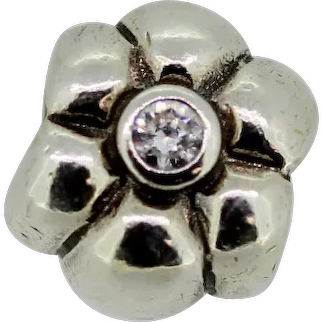 Pandora Retired Sterling Silver Flower Bead with Clear Zirconia - 790185CZ