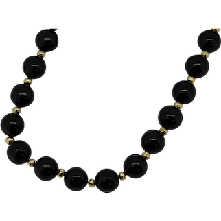 """Black and 14k Yellow Gold Beaded Necklace - 27"""""""