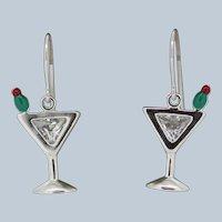 Sterling Silver CZ/Enamel Martini Glass Dangle Earrings