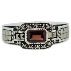 Sterling Silver Marcasite/Red Stone Band Ring - Size 7.75