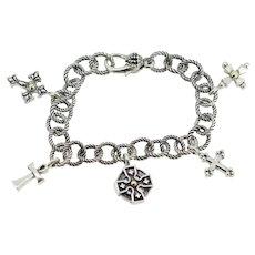 "Ann King Sterling Silver/18k Cross Charm Bracelet - 8"""
