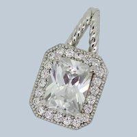 Sterling Silver Princess Cut/Round CZ Slider Pendant