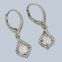 Sterling Silver CZ/Gemstone Dangle Earrings