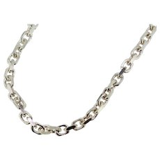 """Sterling Silver Hammered Cable Link Necklace - 22"""""""