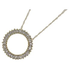"""14k Yellow Gold Baguette Diamond Circle Pendant on Cable Necklace - 19"""""""