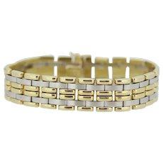 "14k Two Tone White/Yellow Gold Wide Link Bracelet - 7"""
