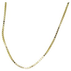 """14k Yellow Gold Box Link Necklace - 24"""""""
