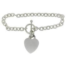 """Sterling Silver Cable Chain Heart Charm Bracelet - 7.5"""""""