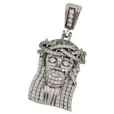 Sterling Silver CZ Filled Jesus Head Pendant