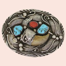 Vintage Sterling Silver Bear Turquoise/Coral Belt Buckle