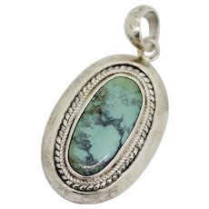 Sterling Silver Oval Blue Turquoise Pendant