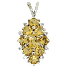 Sterling Silver Yellow/Clear Stone Cluster Pendant