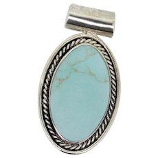 Sterling Silver Oval Blue stone Slider Pendant