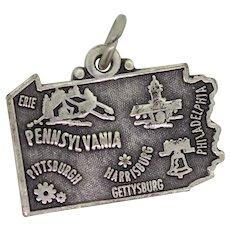 Sterling Silver Pennsylvania Charm Pendant