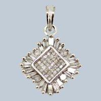14k White Gold Round/Princess/ Baguette Diamond Cluster Pendant