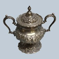 Stieff Sterling Repousse Hand Chased Monogrammed Sugar Bowl