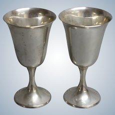 Set of 2 Gorham 272 Sterling Silver Water/Wine Goblets - No Monogram