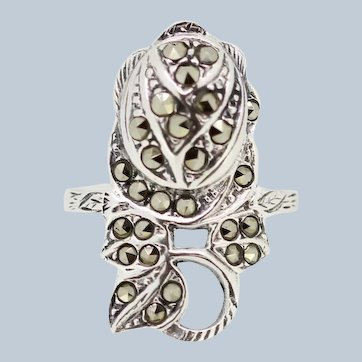 Sterling Silver Freeform Marcasite Ring - Size 6