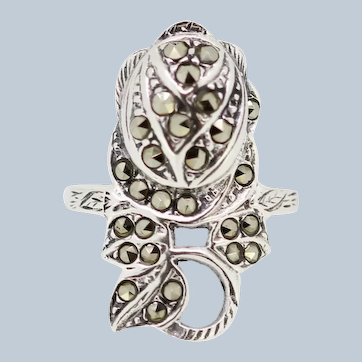 Sterling Silver Freeform Marcasite Ring - Size 7
