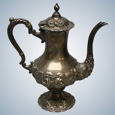 """Stieff Sterling Repousse Hand Chased Monogrammed Teapot - 9.5"""""""